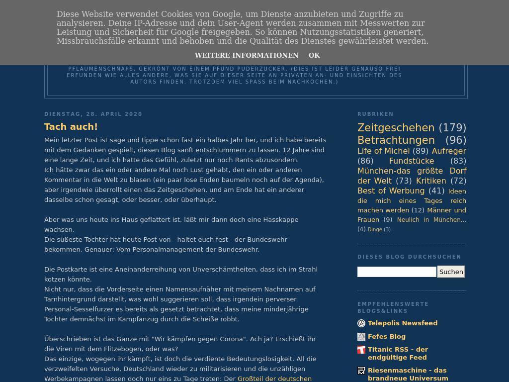 Mi,20.20.20 20 «Hier regt sich jemand darüber auf» Fefes Blog ...
