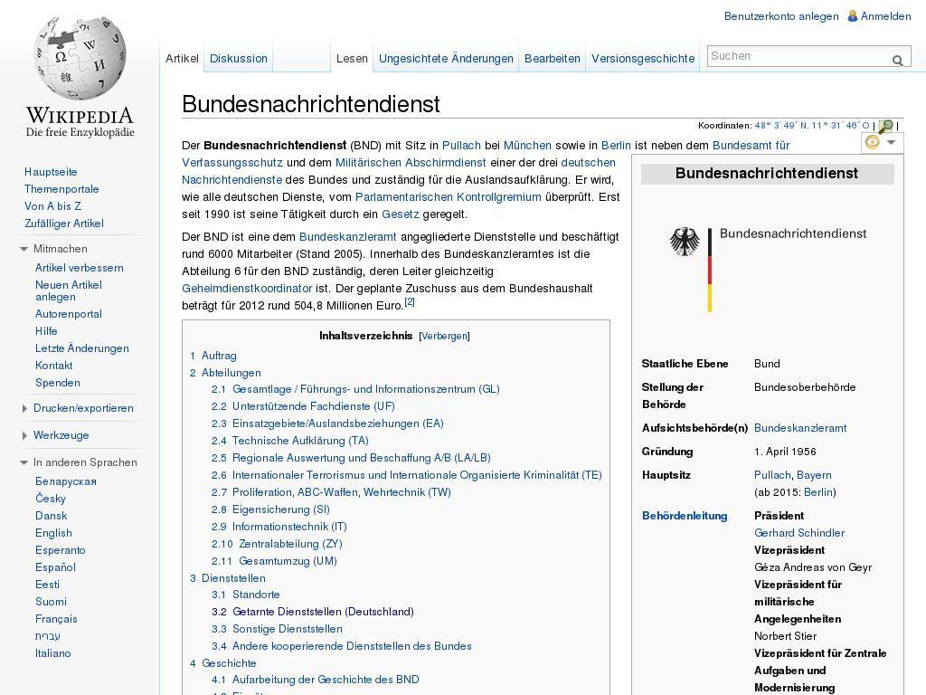 Fr,10.01.2014 #32: «Da führt der Bundesnachrichtendienst ab 17:30 im ...